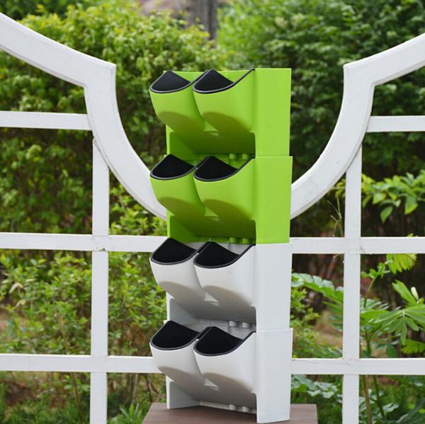Planta parede vertical verde interior e exterior varanda parede pendurado vaso de flores combinação criativa resina vaso de flores de plástico atacado