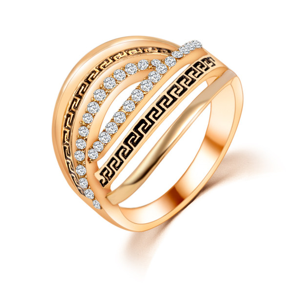 Wedding Rings Men Woman Korean Fashion Jewelry Antique Silver 18K Gold Plated Costume Jewelry Cubic Zirconia Gemstone Rings