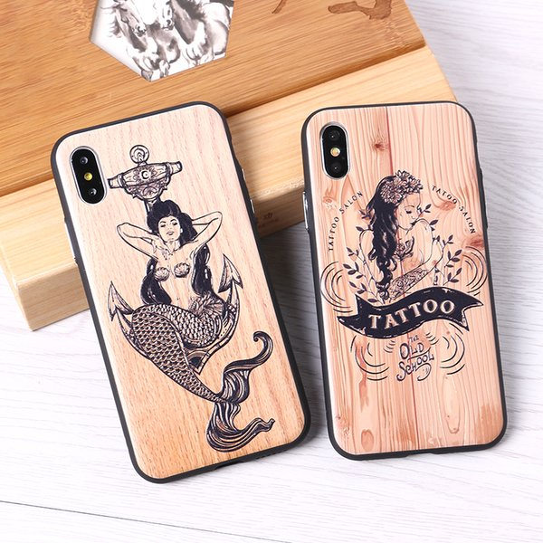 Para iphone 6 6 s 6 plus 7 7 plus 8 8 plus x 3d relevo elephone sereia tatuagem imitativo madeira case cover capa fundas