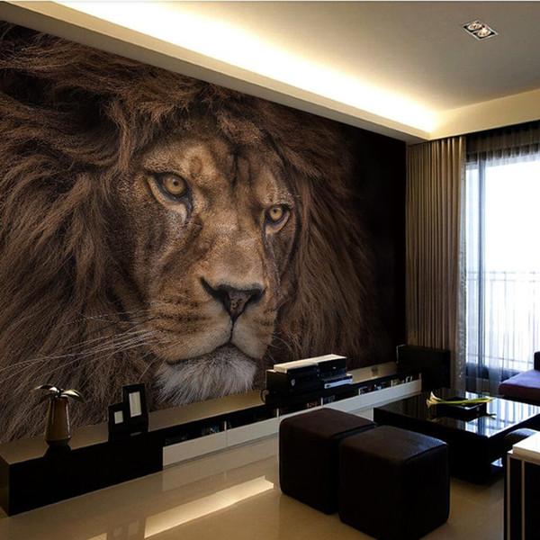 Großhandel Benutzerdefinierte Fototapete Wohnzimmer Schlafzimmer Tier Löwe Schwarz Weiß Tapete Hotel Restaurant Selbstklebende 3d Wandbild Von