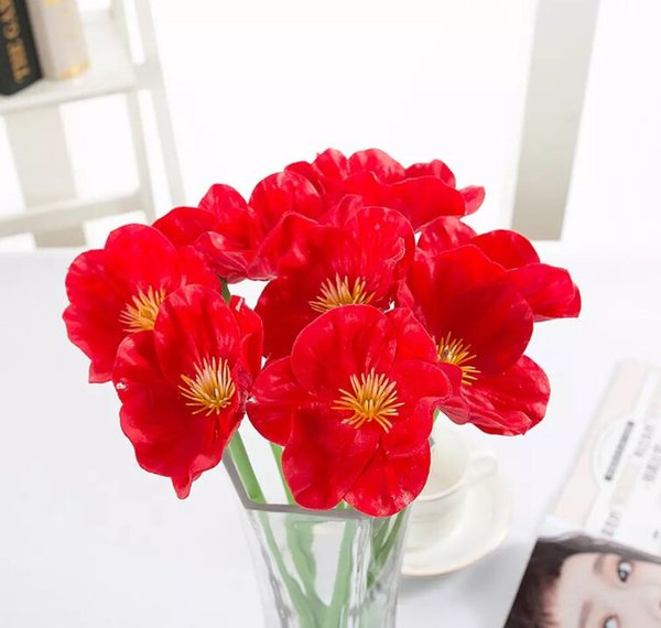 artificial flowers fake flowers mini poppy wedding bouquet wedding flowers pu and plastic flower decorating party and wedding