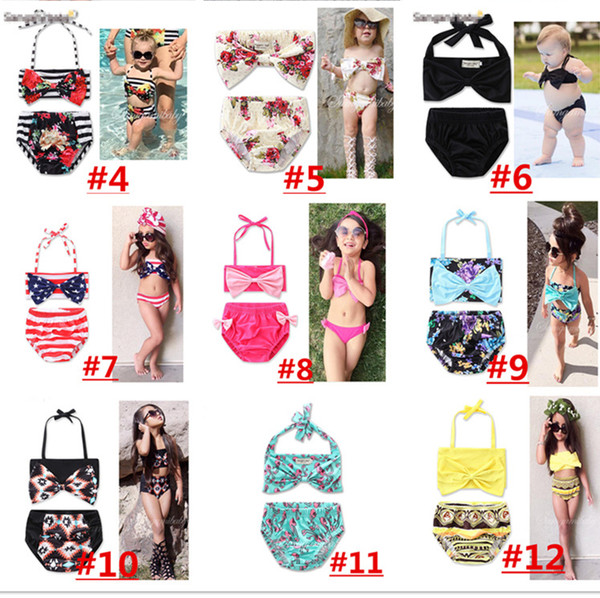 22 COLOR Unicorn Girls Floral Swimwear Halter Rompers Swimsuit Childrens Clothing Two-Pieces Bikinis Beach Bathing Suit One-Pieces LC737