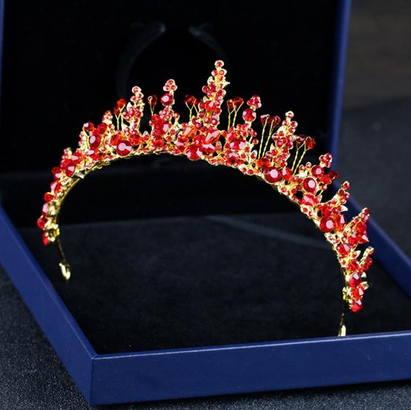 Red crystal diamond hand crown beads, headwear, toast, accessories, bridal ornaments