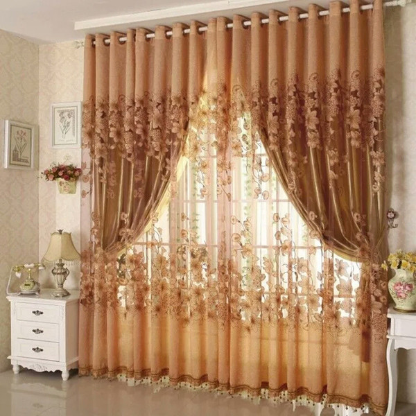 best selling Fashion Floral Tulle Door Window Curtain Drape Sheer Home Decorative Curtains Home Decor Curtain For Living room