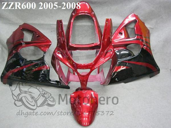 # 7611X Carene iniezione per KAWASAKI ZZR600 2005 2006 2007 2008 ZZR 600 05 06 07 08 Kit carene rosso nero