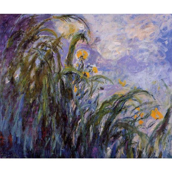 Moderne Kunst Gelbe Iris Claude Monet Ölgemälde Leinwand Handgemaltes Wanddekor