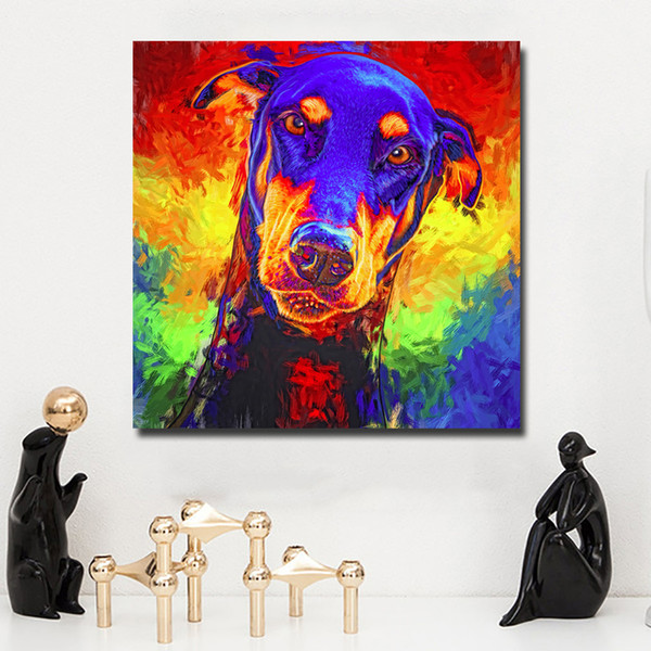 2019 1 Panel Modern Colorful Animal Art Dog Painting Poster Print Wall Art Cuadro For Festival Living Room Home Decor No Frame From Watchsaler 27 36