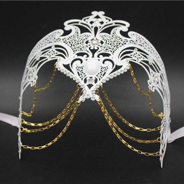 12 Pcs/Lot Female Phantom Filigree Italy Chain Venetian Wedding Party Mask Metal Laser Cut Costume Masquerade Mask Wholesale