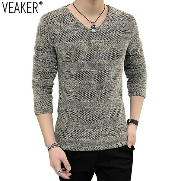 2018 Men's Sexy Hollow Out Hole T shirt Male Autumn Breathable Slim Fit Solid V-Neck Long Sleeve T shirts Pullover Plus Size 6XL