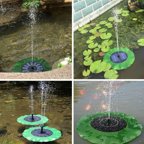 Wholesale Solar Water Pump Floating Waterpomp Panel Kit Fountain Pool Pump Kit Lotus Leaf Fairy Garden Miniatures Garden Home Decor