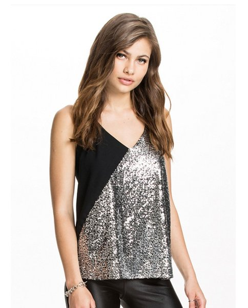 top popular Silver sequin stitching contrast vest hanging neck strap sexy back strap 2021