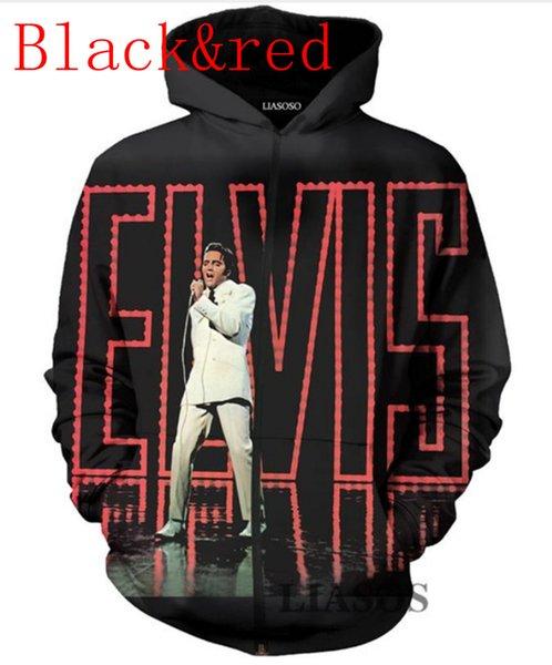 Nova Moda 3D Impresso Elvis Presley Esporte Camisola Com Zíper Bolso Hoodies FB06
