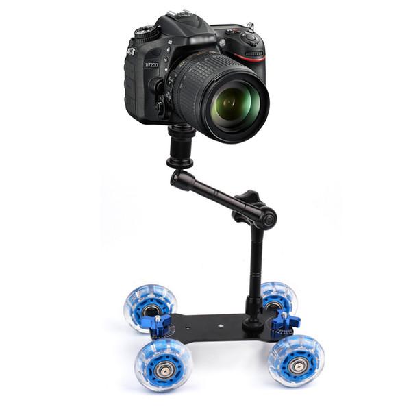Slider Track Dolly Car +11'' Magic Aarm Tabletop Mobile Rolling Video Rail Skater for DSLR Camera Camcorder Speedlite Gopro Blue