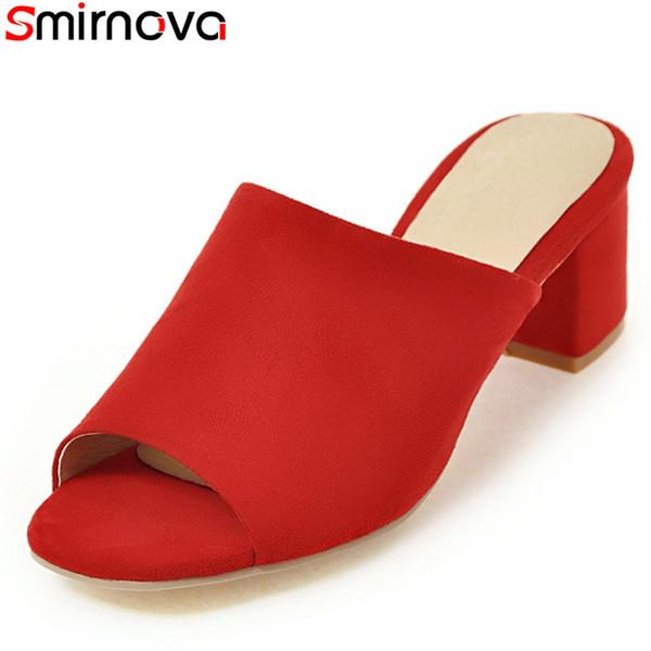 Smirnova tamaño grande 34-43 verano color sólido zapatillas cuadradas tacones altos rojo amarillo conciso de calidad superior mujeres ocasionales mulas