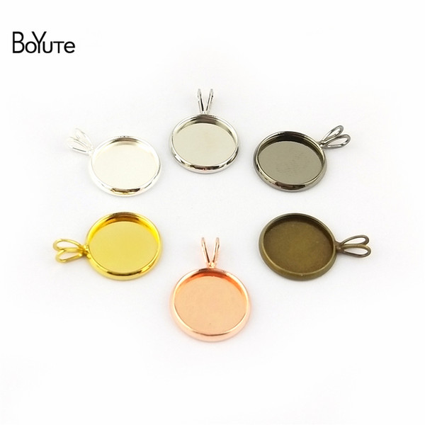 BoYuTe 50Pcs Round 10-12-14-16-18-20MM Cameo Cabochon Base Setting Diy Pendant Blank Tray Jewelry Findings & Components(Gold Plated)