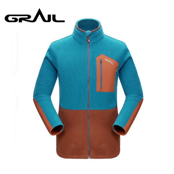 GRAIL Outdoor Polartec Fleece Basic Jacket Loose Zip Up Multi Pockets Warm Jacket Coat Stand Collar for Camping Hiking M5007A Y1893006