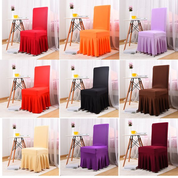 Wedding Party Chair Cover Restaurant Hotel Chair Cover Home Decor Seat Covers Spandex Stretch Banquet Plain Decoration HH7-1208