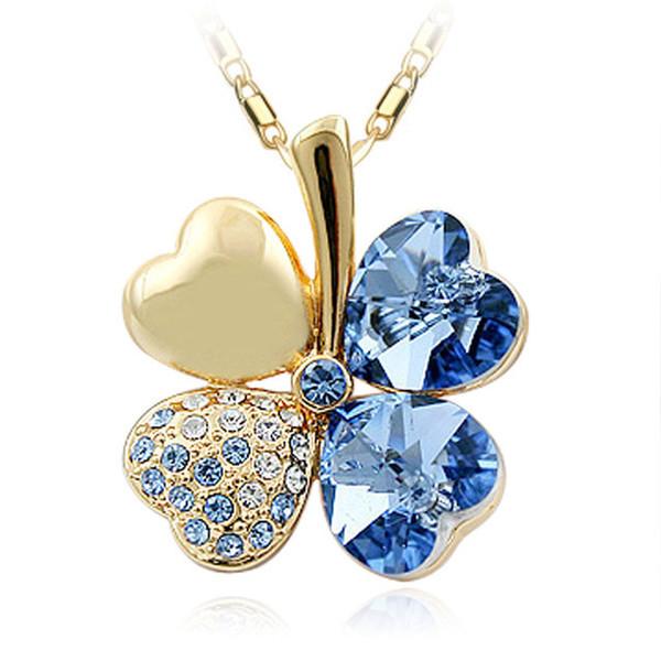 Fantastic 7 Colors Clover Crystal Pendants 18K Golden Sliver Chain Swarovski Amethyst Jewelry Rhinestone Choker for Women
