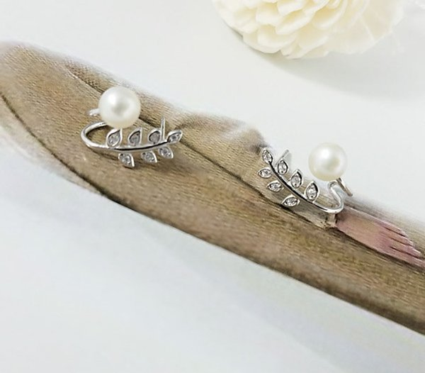 1 pair zircon solid sterling silver earring setting, earring mounting, earring blank without pearl, jewelry DIY, gift DIY