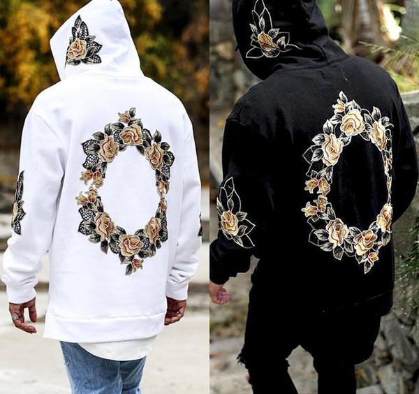 Men Hoodies Spring Autumn High Street Fashion Style Floral Print Pullover Long Sleeve Tshirt Casual Hip Hop Sweatshirt