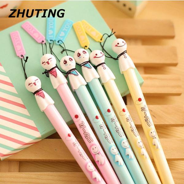 6pcs Student stationery pencils cute pearl pen cool sunshine doll gel ink school supplies random color