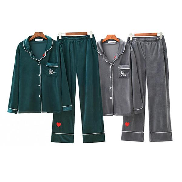Autumn&winter Pajamas Suits 4-color Super-soft Velvet Trousers Long-sleeved Turtleneck Cardigan Warm Clothes Pijama Sleepwear