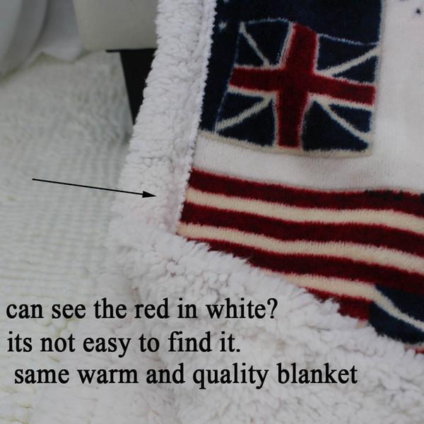 Wholesale- big discount double layer thick USA US UK ENGLAND BRITISH flag fleece sherpa tv sofa gift blanket throw blankets 130x160cm