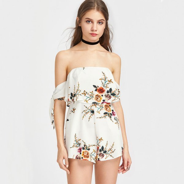 Flower Printed Sexy Jumpsuits Off the Shoulder Backless with Pocket Strapless Elegant Short Women Casual Clothes Cheap In Stock Shorts