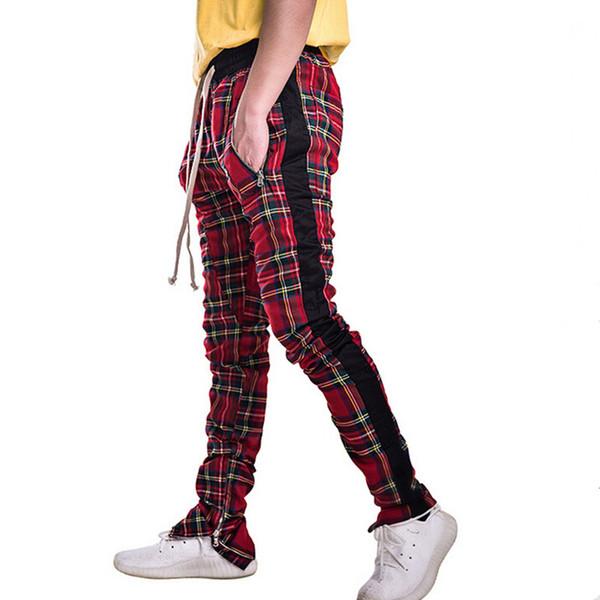 am besten bewerteten neuesten großer Verkauf online hier Großhandel High Street Herren Plaid Hosen Seite Streifen Reißverschluss  Slim Fit Jogginghose Herren Mode Hip Hop Streetwear Hose Pantalon Hombre  Von ...