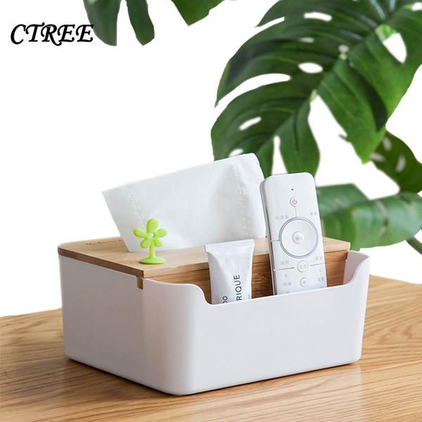 Großhandel CTREE 1 Stücke Neue Natürliche Bambus Holz Tissue Box Weiße  Serviette Aufbewahrungsbox Büro Wohnzimmer Auto Hotel Haushalt Tissue ...