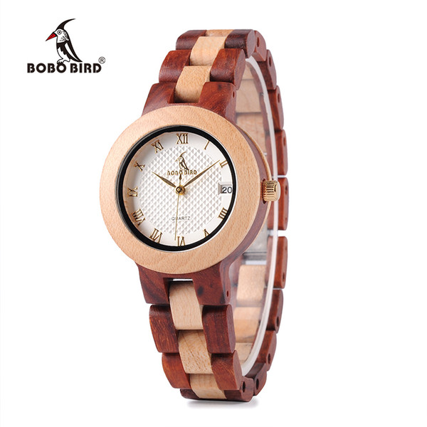 BOBO BIRD Two-tone Timepieces Wooden Watch for Women Brand Design Quartz Lady Watches in Wood Box Accept Customize S914