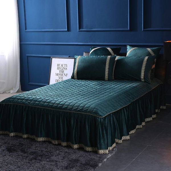 Green Bed Skirt Queen.Fleece Warm Bed Skirt Bed Cover Bedding Set Full Queen King Size Purple Blue Gray Green Color Ropa De Cama Ropa Cama Linge De Li Extra Long Bedskirts