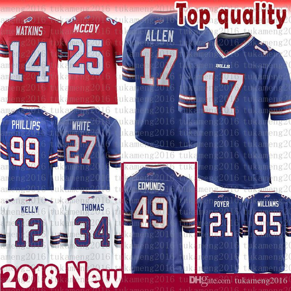 sneakers for cheap 703bc 242a1 2018 17 Josh Allen Jersey Buffalo Bills 49 Tremaine Edmunds Kelly 25 Lesean  Mccoy 27 White Tyrod Taylor Thomas Adareus 95 Kyle Williams 21 Poyer From  ...