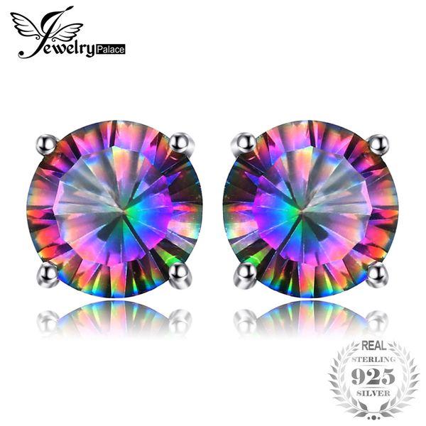 Perno di orecchini topazio arcobaleno Mystic naturale per ragazze genuino puro solido 925 sterling silver tondo moda all'ingrosso di marca
