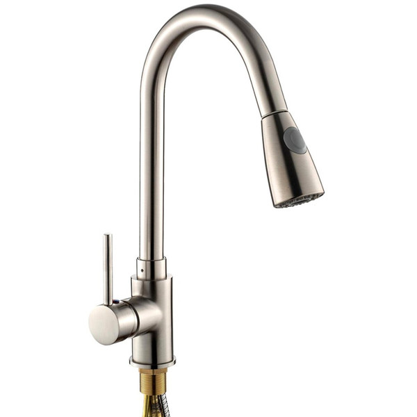Unique Design Pull-Out Spray Brushed Nickel Finish Kitchen Sink Faucet One Handle Spout Spray Swivel Ceramic Plate Spool