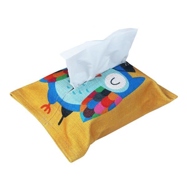 1 PC Car Tissue Bag Cute Cartoon Pattern Cotton Linen Convenient Environmental Tissue Box Paper Pumping Case Car Accessories