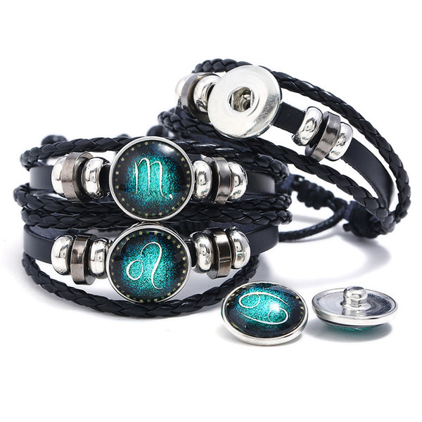 Retro Black Ginger Snap Jewlery Bracelet For Men Women DIY Multi-Layer Glass Cabochon 12 Constellation Braided Leather Bracelets