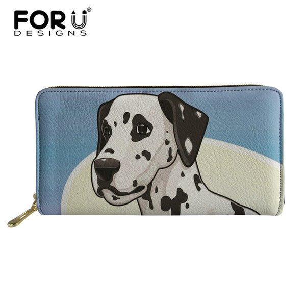 FORUDESIGNS Leather Wallet for Women Dalmatian Dog Printing Ladies Purses& Wallets Purse for Coins Long Money Cash Card Holder