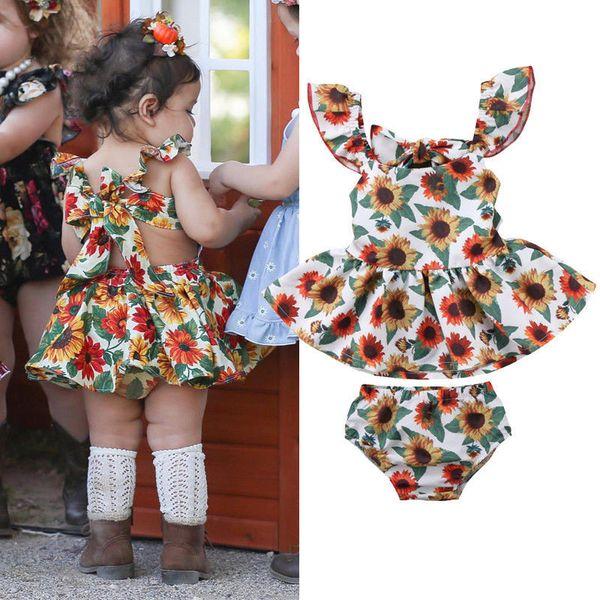 Sunflower Denim Shorts Headband Kid Toddler Girl Summer Outfit 3pc Wild One Vest Top Kehen