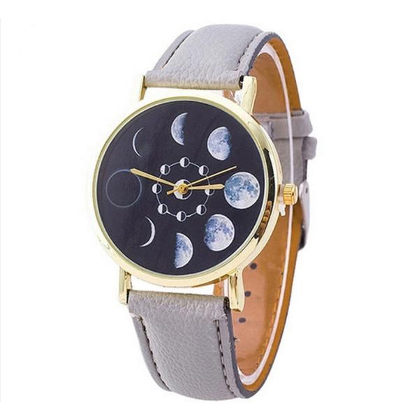 Women Quartz Watch Stylish Solar Moon Phase Lunar Eclipse Watch PU Leather Bracelet Watches
