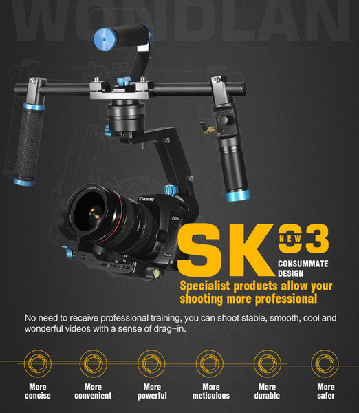 Wondlan NEW SK03 3-Axis Gimbal Stabilizer Handheld DSLR Gimbal Dual handle For SONY Nikon Canon Cameras
