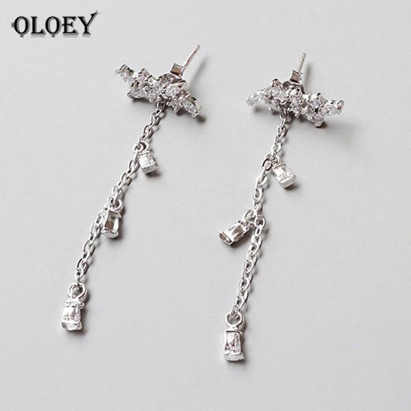 OLOEY Trendy Leaves Tassel Earrings for Women Ladies 100% Genuine 925 Sterling Silver Zircon Long Earring Fine Jewelry YME361