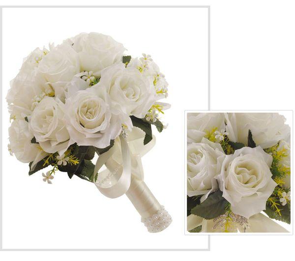 New Wedding Bridal Bouquets Handmade Flowers Rose bridesmaid Bouquets Wedding Supplies Bride Holding Brooch Bouquet