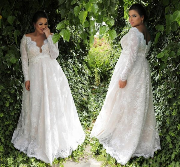 Garden A-line Empire Waist Lace Plus Size Wedding Dresses With Long Sleeves  Sexy Long 5e59289c2b9d