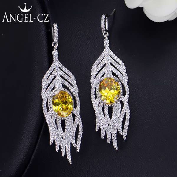 ANGELCZ Trendy CZ Feather Drop Dangle Pave Round Yellow Stone Crystal Bohemian Long Tassel Earrings With 925 Silver Pins AE214 C18111901