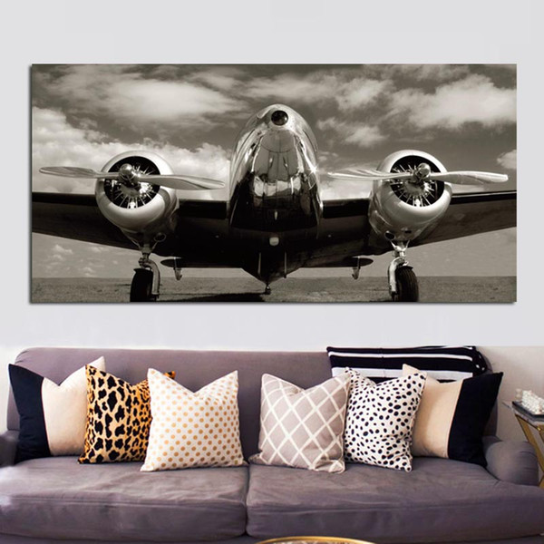 1 Piece Retro Print Abstract Blank White Airplane Landscape Painting Aircraft Landscape Poster Canvas Art Wall Picture No Framed