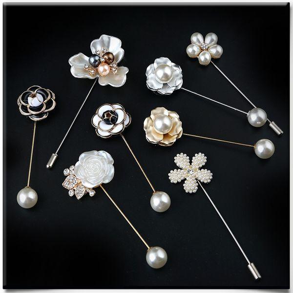 New Fashion camellia flowers, pearls, women's sweater, big pin, Korean retro brooch, pin jewelry retail wholesale