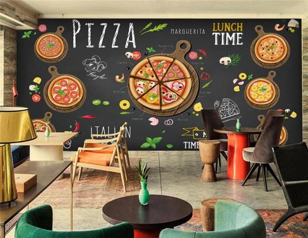 top popular Custom restaurant wallpaper,Hand-painted cartoon delicious pizza,3D murals for cafe restaurant background wall PVC wallpaper 2019