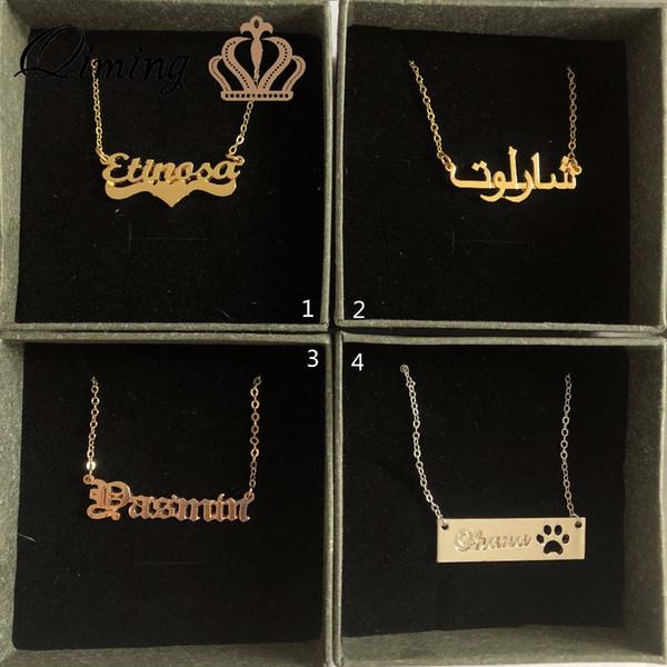 QIMING Initial nom personnalisé lettre collier femmes or arabe police bébé enfants enfants bijoux plaque signalétique collier pour les filles cadeau