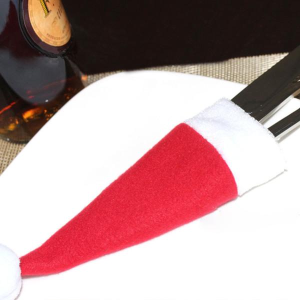 8 Pcs/Set Christmas Hat Cutlery Bag Candy Gift Bags Cute Pocket Fork Knife Holder Table Dinner Decoration